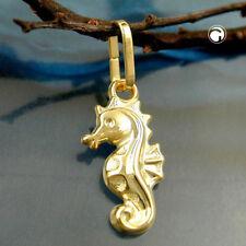 375 Gelbgold Goldanhänger Anhänger 14x7mm Seepferdchen glänzend 9Kt GOLD
