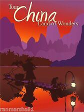 Tour China - Land of Wonders Chinese Orient Travel Art Advertisement Poster