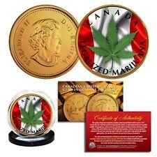 CANADA LEGALIZED MARIJUANA Canadian Caribou Quarter 24K Gold Plated - LOT OF 2