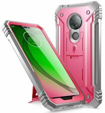 Moto G7 Power Case,Poetic [w/Kick-stand] Armor Heavy Duty Shockproof Cover Pink