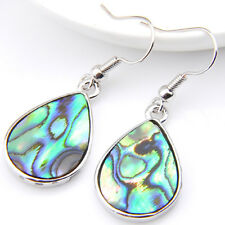 Water Drop Handmade Natural Abalone Shell Gemstone Silver Dangle Hook Earrings