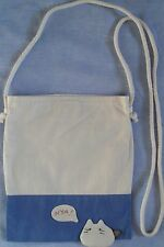 New 100% Cotton Girls Long Strap Shoulder Bag Messenger Handbag Cream Blue