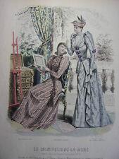 """59/ GRAVURE DE MODE """" Moniteur de la Mode Paris 1891 """".   Grand format 36x26"""