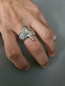 Silver Eagle Ring Adjustable Open Band Thumb Ladies Mens Boys Gift Wrap Bird UK