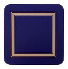 Set de 6 Azul Dorado Bordeado Clásico Dorso Corcho Posavasos 10.5 x 0.6cm