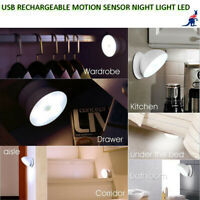 LED Night Light Motion Sensor PIR USB Rechargeable Magnetic Bedroom Hallway Wash
