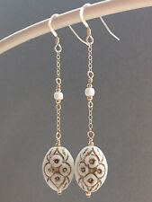 Vintage Deco White, Gold Egyptian Revival 'Max Neiger' 14ct Rolled Gold Earrings