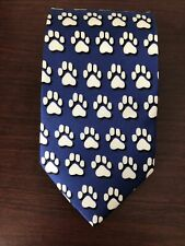 Wild Ties Mens 100% Silk Blue Paw Print Tie EUC