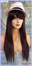 100% Heat Friendly Wig Long Straight  SLINKY STRAIGHT COLOR 4 DARK BROWN  1148