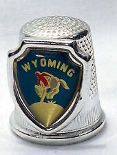 Wyoming acrylic shield with cowboy on bucking horse silver tone metal thimble
