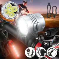 60000LM Mountain Bike 5*T6 LED Front Light Head Torch Rechargeable +Battery Pack