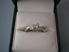 LOVELY ERNEST JONES 9CT WHITE GOLD TWO CZ RING - BNIB