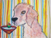 LABRADOODLE Drinking a Martini Dog Collectible Art Print 8 x 10 Signed by KSAMS