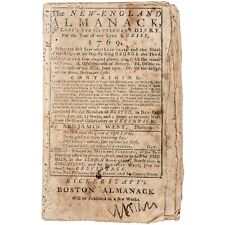 Paul Revere Engraving & Ben Franklin Experiments The New-England Almanack -