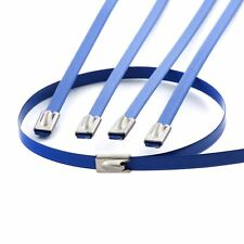 "10 12"" BLUE LOCKING STAINLESS STEEL ZIP TIES FOR CABLE EXHAUST HEADER PIPE WRAP"