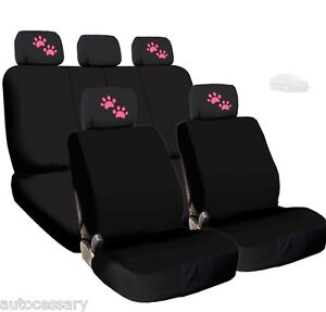 For Kia New 4X Pink Paws Logo Headrest And Black Fabric Seat Covers
