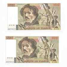 Duo de billets 100 frs DELACROIX 1989 . NEUFS . UNC . Numéros se suivent