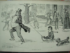 ANTIQUE 1905 PRINT CHARLES DANA GIBSON - THE SPIRIT OF THE DAY - FUN IN THE SNOW
