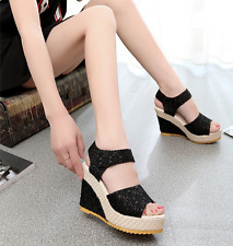 Fashion Summer Lace  Flip Flops High Heeled shoes Wedges sandals Woman shoes