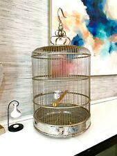 Canary Bird Cage 32� Stainless Steel - Ornamented Chinese Porcelain Bowls