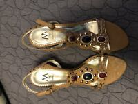 Marinelli Women's Shoes~Brown Open Toe Sandals w/Jewels Size 10 New