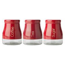 Sabichi Tea Coffee Sugar Three Jar Set Red 700ml Glass Caddy Canister