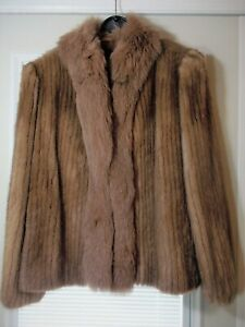 Exquisite Vintage Cropped Mahogany Mink Fur Coat Jacket Size 12