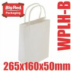 50x Baby White Kraft Paper Gift & Shopping Bags w/ Twist Rope Handles 265x160x50