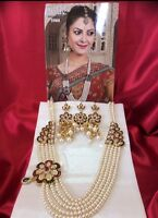 Bollywood Indian Bridal Necklace Earrings Jewellery Pearls Gold Maroon Green A11