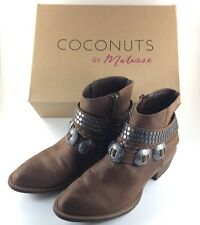 Coconuts Matisse Ankle Boots Brown Cowgirl Western Womens Sz 8 Studded Straps
