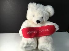 "BEVERLY HILLS PLUSH WHITE TEDDY BEAR WITH BANNER MOVIE LOVER 13""  VGC CUTE"