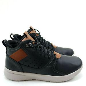 Skechers Delson Venego Mens Leather Sneaker Ankle Boots Black Memory Foam Sz 8.5