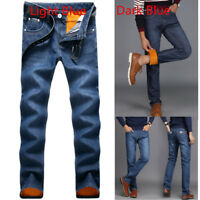 Men's winter thick Thermal jeans fleece lined Denim Pants cotton Warm Trousers