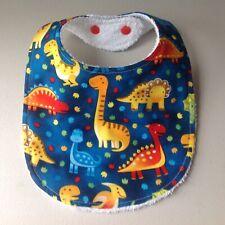Handmade Baby Bib ~ Dinosaur Print - Blue