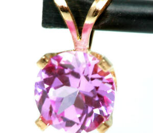 2.0ct Natural VS Pink Sapphire 14K Solid Yellow Gold Pendant Necklace Solitaire