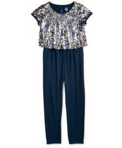 NEW NWT Girls XL 14 / 16 Attached Sparkly Sequin Jacket Dark Blue Jumpsuit