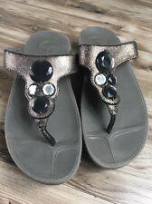 FITFLOP Metallic leather jewels flip flops sandals sz. 6 EU 37 Slides Pool Beach