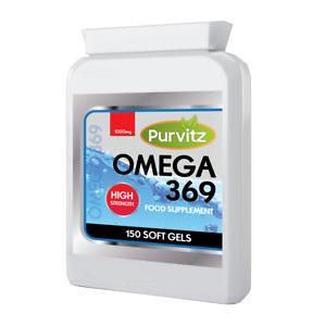 Omega 3 6 9 1000mg 150 Capsules Fish Oil High Strength DHA EPA UK 369 Softgels