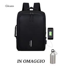 """Zaino antifurto per laptop 15.6"""" porta USB per viaggio scuola lavoro + OMAGGIO"""