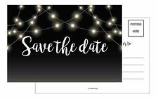 20 Save The Date Post Cards  Black lights Rustic Chalkboard Guests at Wedding