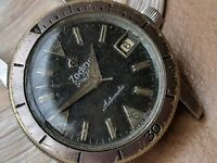 Vintage Zodiac Sea Wolf Diver w/Deep Patina,Signed Crown FOR PARTS OR REPAIR