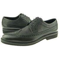 Charles Stone Wingtip Oxfords, Full Brogue Men's Dress Leather Shoes, Black