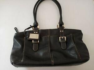 Tignanello Black Leather Satchel Shoulder Bag with Buckle Accents