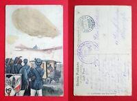AK 1915 Luftpost Postbeamte Zeppelin Luftschiff Flugzeug Postauto     ( 33815