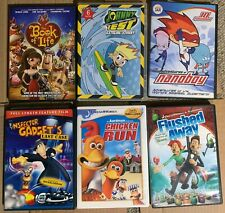 LOT Kids DVDs Inspector Gadget Book of Life Nanoboy Flushed Away Chicken Run +