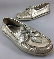 Sperry Top-Sider Womens 8 M Gold Metallic Leather 2 Eye Boat Deck Shoes 9294455