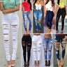 Women Distressed Ripped Denim Jeans Pants Slim Skinny Stretchy Jegging Trousers