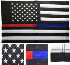 12x18 Embroidered Usa 1st Responder Thin Red Blue Line Nylon Sleeved Garden Flag