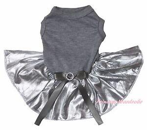 Easter Plain Gray Grey Cotton Top Bling Silver Skirt Cat Pet Dog Puppy Dress Bow
