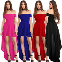 New Sexy Women Off Shoulder Party Dress Short Sleeve Evening Cocktail Irregular
